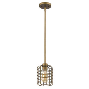 Lynden Raw Brass 6-Inch One-Light Mini Pendant