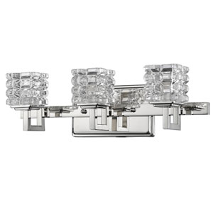 Coralie Polished Nickel Three-Light Bath Vanity