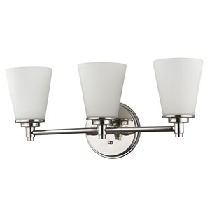 Conti Polished Nickel Three-Light Bath Vanity