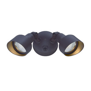 Architectural Bronze Two-Light LED Outdoor Floodlight Fixture