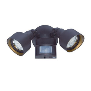 Architectural Bronze Two-Light LED Motion Activated Outdoor Floodlight Fixture