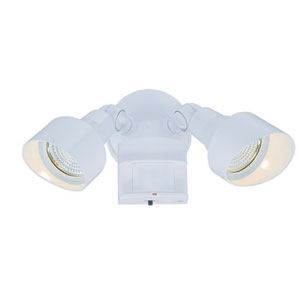 Gloss White Two-Light LED Motion Activated Outdoor Floodlight Fixture