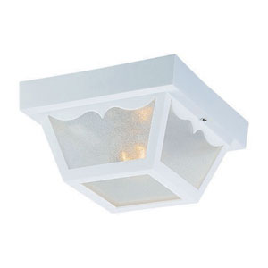 Builders Choice Gloss White One-Light Outdoor Ceiling Mount
