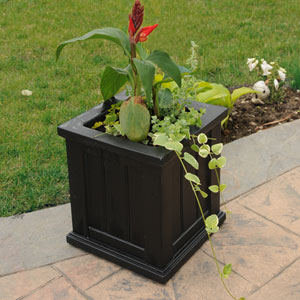 Cape Cod Black Patio Planter 14 x 14 Inch