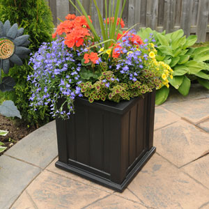 Cape Cod Black Patio Planter 16 x 16 Inch