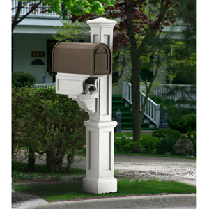 Rockport White Single Mailbox Post