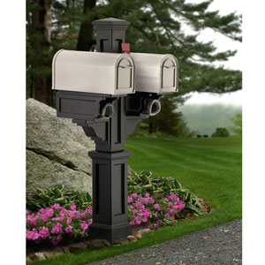 Rockport Black Double Mailbox Post