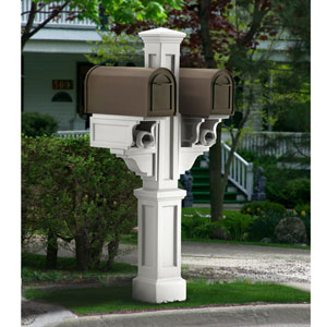 Rockport White Double Mailbox Post