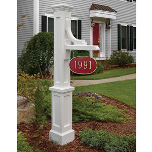 Woodhaven White Address Sign Post