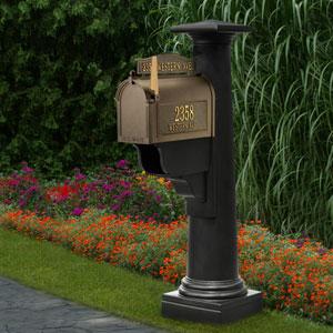 Statesville Black Mailbox Post