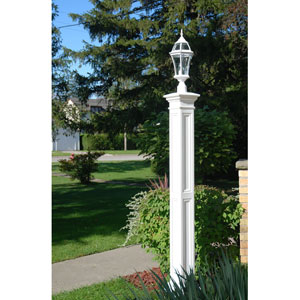 Liberty White Lamp Post with Mount