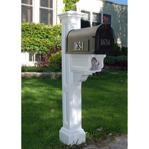 Charleston Plus White Mailbox Post