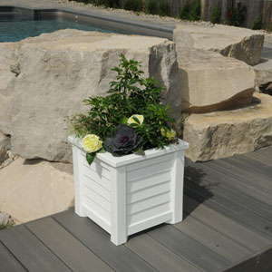 Lakeland White 16 x 16-Inch Outdoor Planter