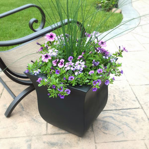 Valencia 16X18 Square Planter - Black