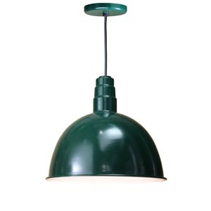 Deep Bowl Forest Green 18-Inch Outdoor Pendant with Black Cord