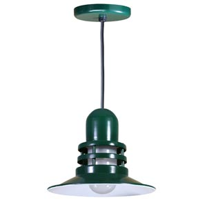 Orbitor Forest Green 12-Inch Outdoor Pendant with Frosted Glass and Black Cord