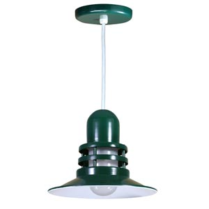 Orbitor Forest Green 12-Inch Outdoor Pendant with Frosted Glass and White Cord