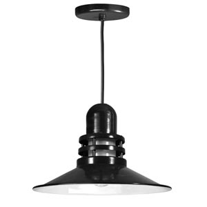 Orbitor Black 16-Inch Outdoor Pendant with Frosted Glass and Black Cord