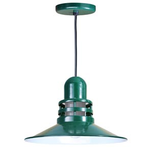 Orbitor Forest Green 16-Inch Outdoor Pendant with Frosted Glass and Black Cord