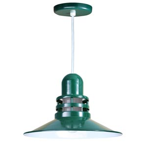 Orbitor Forest Green 16-Inch Outdoor Pendant with Frosted Glass and White Cord