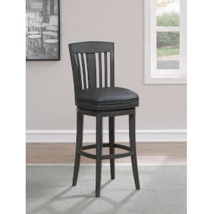 Fairview Smoke Bonded Leather and Wood Bar Height Stool