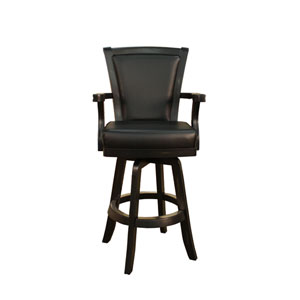 Auburn Peppercorn Bar Stool with Black Leather Cushion
