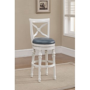 Livingston Antique White Swivel Counter Height Stool
