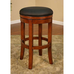 Winston Amaretto Counter Stool with Black Leather Cushion