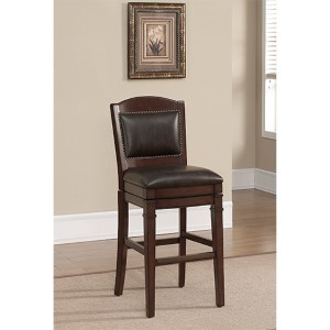 Artesian Espresso Tobacco Leather Cushion Swivel Bar Height Stool