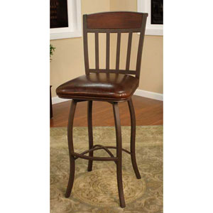 Lancaster Ginger Spice Bar Stool with Bourbon Leather Cushion