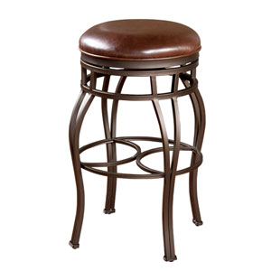 Bella Pepper Backless Bar Stool with Tobacco Leather Cushion