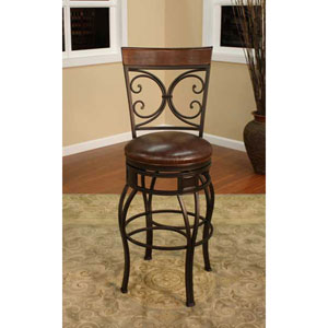 Treviso Pepper Bar Stool with Bourbon Leather Cushion
