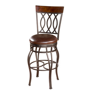 Bella Pepper Pub Height Bar Stool with Bourbon Leather Cushion