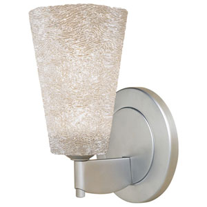 Bling II Matte Chrome Wall Sconce w/White Textured Glass