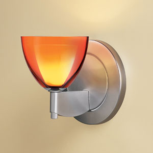 Rainbow I Matte Chrome One-Light Wall Sconce with Orange Glass