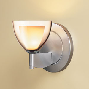 Rainbow I Matte Chrome One-Light Wall Sconce with Smoky Glass