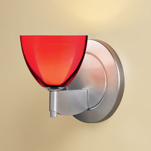 Rainbow I Matte Chrome One-Light Wall Sconce with Red Glass