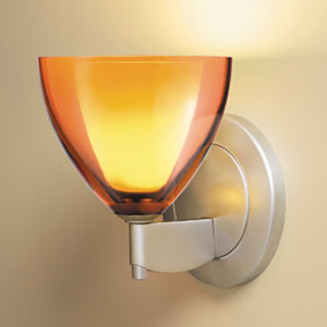 Rainbow II Matte Chrome One-Light Wall Sconce with Orange Glass