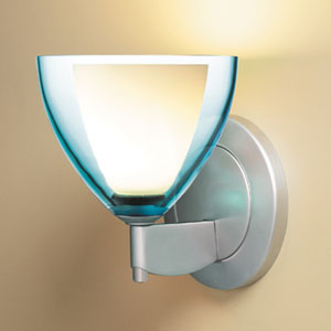 Rainbow II Matte Chrome One-Light Wall Sconce with Turquoise Glass