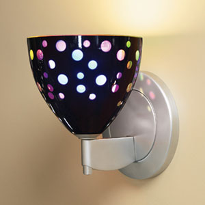 Rainbow II Matte Chrome One-Light Wall Sconce with Black Glass