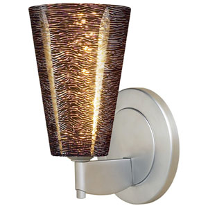 Bling II Matte Chrome Wall Sconce w/Black Textured Glass
