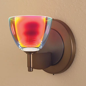 Rainbow I Bronze One-Light Wall Sconce with Dichroic Sunrise Glass