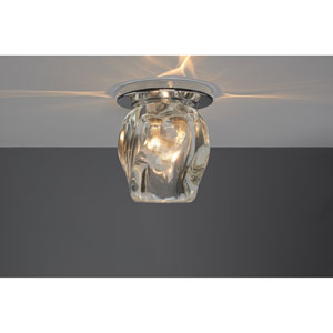 Aurora Chrome One-Light Flush Mount with Clear Glass