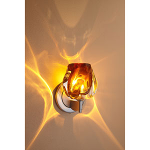 Aurora Matte Chrome One-Light Wall Sconce with Amber Glass