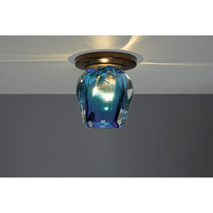 Aurora Bronze One-Light Flush Mount with Blue Glass