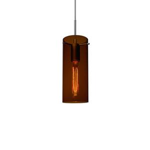 Luca Matte Chrome One-Light Line Voltage Mini Pendant with Bourbon Glass