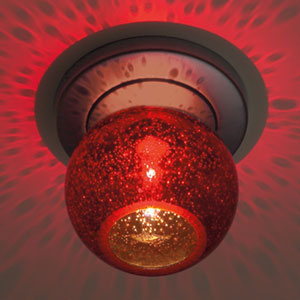 Bobo Matte Chrome Ceiling Light with Red Bubble Glass