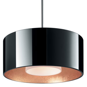Cantara Chrome One-Light Low Voltage Mini Pendant with Black and Gold Inner Glass