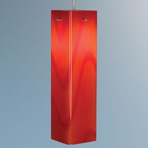 Houston Matte Chrome Mini Pendant with Red Glass