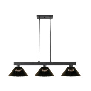 Cobalt Matte Black Three-Light Billiard Pendant
